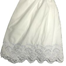 "Croft & Barrow Full Size Bed Skirt White Eyelet Lace Scalloped Ruffle 15"" Drop"