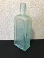 "DR Kennedy's Medical Discovery Aqua Glass QUACK MEDICINE BOTTLE ROXBURY MA 9"""