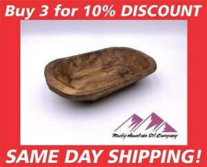 """CARVED WOODEN DOUGH BOWL RUSTIC TRAY WOOD TRENCHER 8-10"""" ANTIQUE VINTAGE CANDLE"""