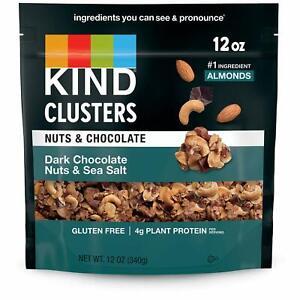 Kind Dark Chocolate Nuts & Sea Salt Clusters 12 Oz Free Shipping Exp: 02/2021