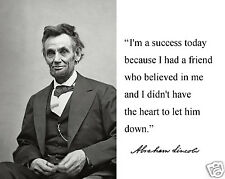 "Abraham Lincoln "" success"" Autograph Quote 8 x 10 Photo Picture #hv7"