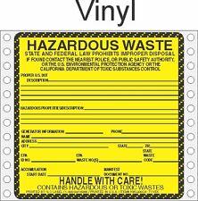 Hazardous Waste California Paper Labels HWL200CA VINYL (pack of 500)