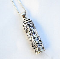 Sterling Silver 925 Mezuzah Pendant & necklace.W-Magen David Judaica Made israel