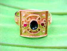 14k Solid Gold Etruscan Byzantine Style Ruby Sapphire Ring