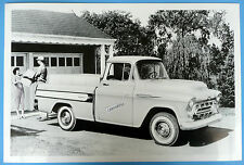 """12 By 18"""" Black & White Picture 1957 Chevrolet Cameo Pickup Truck"""