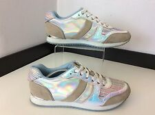 SUPERTRASH ST trainers Size 39 Uk 6 Vgc Silver Metallic & White