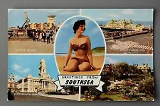 R&L Postcard: Southsea Multiview, Glamour Pin Up Lady, Pier/Anchor etc J Salmon