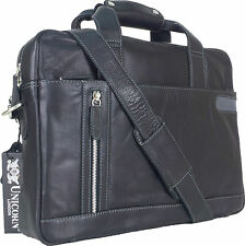 "UNICORN Real Leather 16.4"" Laptop Netbook Ultrabook Messenger Bag - Black #8E"