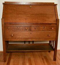 Arts and Crafts Mission Style Sawn Oak Drop Front Desk Secretary c. 1900-1920