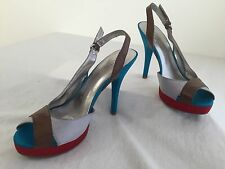 GUESS Giana Open-Toe Slingback Sandals Gray, Brown, Red & Aqua Blue Size 9M