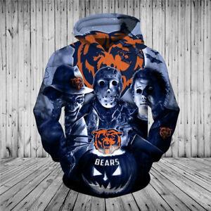 Chicago Bears Halloween Hoodie Jason Freddy Pullover Hooded Sweatshirt 3D Jacket
