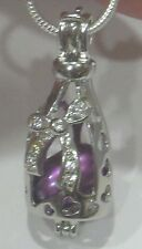 "Pearl Necklace Purple Pearl in SS Bottle Bling Bow Pendant /18"" SS Chain NWOT"