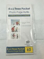 4x6 inch Three Pocket Photo Page Refills 10 Sheets 60 Photos New
