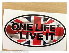 108X54MM UNION JACK ONE LIFE LIVE IT BADGE DEFENDER -DECAL PRINTED STICKER SMALL
