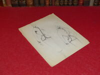 Fashion French Haute Couture Drawing Original Antique Old Pierre Balmain 1952