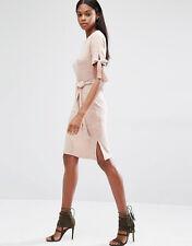 Lavish Alice Nude Pink Rib Tie Belt Jersey Dress New  6 8 12 14