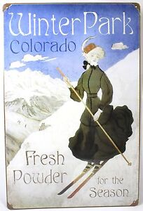 """Winter Park Skiing 36""""x24"""" Steel Sign Colorado Snow Sports Vintage Poster Repro"""