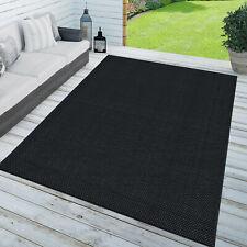 Teppich In- & Outdoor Balkon Küchenteppich Einfarbig Sisal Design Schwarz