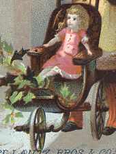 LAUTZ BROS & CO SOAP TRADE CARD, BIG DOLL, SM GIRL, + 3 WHEEL PRAM or BUGGY  C86