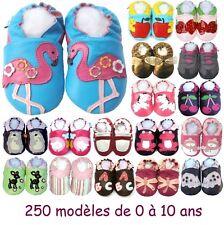 250 modèles de chaussons en cuir souple Bébé enfant Fille de 0 à 10 ans NEUFS