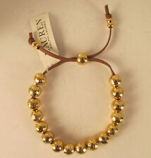 NWT Ralph Lauren Hammered Gold Tone Ballbrown Leather Cord Bracelet  $58