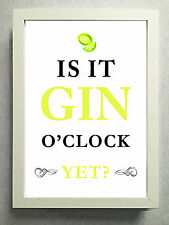 """Striking Typographical """"Gin O'Clock"""" Gin Lover Print / Sign / Gift Free Post"""