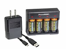 Power2000 CR123A 1200mAh LifePO4 4-Pack Rechargeable Batteries & Charger Kit
