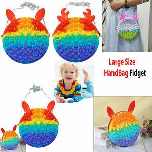 Fidget Toy Pendant Bag Push Bubble Sensory Toy Stress Relief Adults Kids Gift