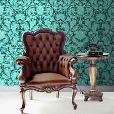 Baroque Scroll Hot Teal Sparkle Textured Vinyl Wallpaper by Muriva 701348