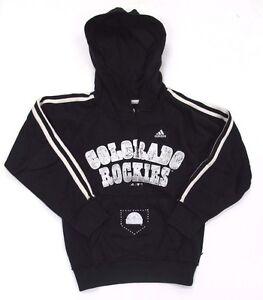 Colorado Rockies Hoodie Sweatshirt Pullover adidas Girls Black Fleece Henley