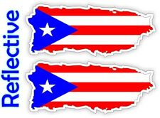 REFLECTIVE Puerto Rico Flags Hard Hat Stickers | Motorcycle Helmet Decals Flag