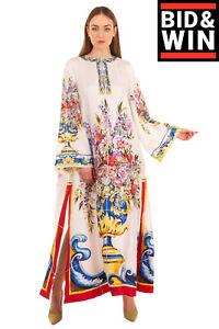 RRP €3445 DOLCE & GABBANA Silk Maxi Kaftan Dress Size IT 46 L Majolica Slit Hem