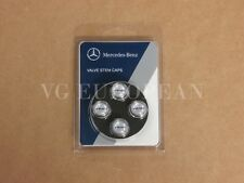 Mercedes-Benz Genuine Tire Valve Steam Cap Set, Black AMG on Silver caps OEM