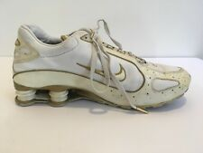 Nike Shox Men s Running Shoe 315821-1111 White Gold Swoosh Sz 12 a2838fa65