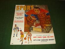 SUPER HIGH GRADE FEB 1957 SPORT MAGAZINE W/ JACQUES PLANTE COVER, CANADIANS