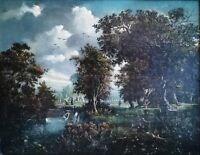 Hobbema Dutch Golden Age Old Master 1600s Renaissance Large Antique Oil Painting