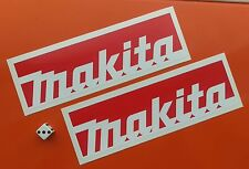 x 2 red MAKITA STICKERS 200MM X 60MM TOOL BOXES,CARS,VANS.GARAGE.WORK