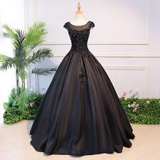 Neu Schwarz A-Line Satin+Spitze Applique Brautkleider Hochzeitskleid Ballkleid