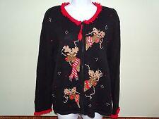 Women's Ugly Christmas Sweater Large Tiara Rudolph Bells Sequins Reindeer