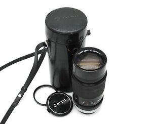 Canon FD 200mm f/4.0 Prime Lens w/Canon case, caps, filter; Free Shipping