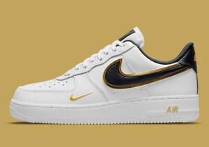 Nike Air Force 1 '07 LV8 Shoes White Black Gold DA8481-100 Men's Multi Size NEW