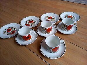 4 x Vintage J G Meakin Poppy Trios ~ Cups Saucers Plates retro 1970's