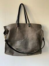 CLARE V VIVIER Gray Simple Tote Basketweave Leather Large Messenger Bag Purse