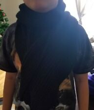 hand-knitted long scarf with cashmere yarn(black)