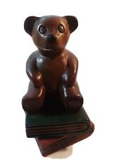 Vintage Wooden Teddy Bear On Books Bookend - Thailand