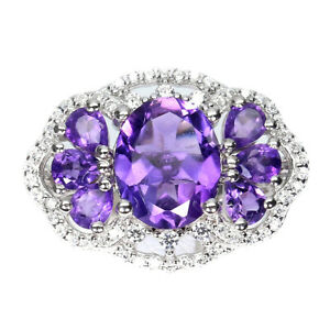 Unheated Oval Amethyst 10x8mm Cz 14K White Gold Plate 925 Sterling Silver Ring 7