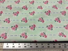 DAISY KINGDOM #4411 BALLET ROSE BOUQUETS MINT GREEN W/ PINK ROSES - 1 1/2 YARDS
