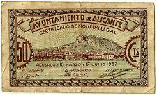 GUERRA CIVIL (NOTGELD) ALICANTE. 50 CÉNTIMOS DE 1937 (BC)