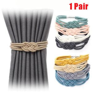 1Pair Curtain Tie Backs Magnetic Rope Buckle Holder Tieback Clips Home Window