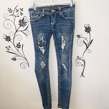 Almost Famous Womens Distressed Skinny Jeans Sz O